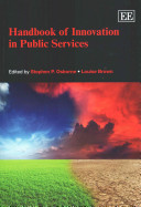Handbook of innovation in public services edited by Stephen P. Osborne