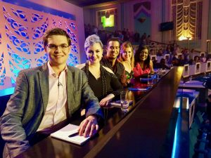 Rachel Mason, second from left, with her fellow judges on Sky 1.