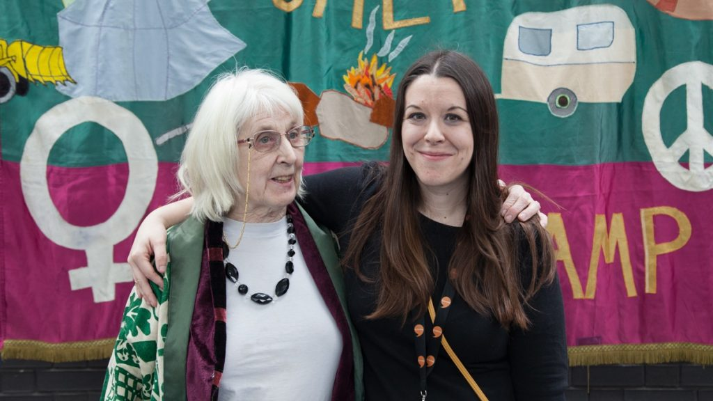 Elen Phillips (right) with peace activist, Thalia Campbell, at an event to celebrate International Women's Day at St Fagans.