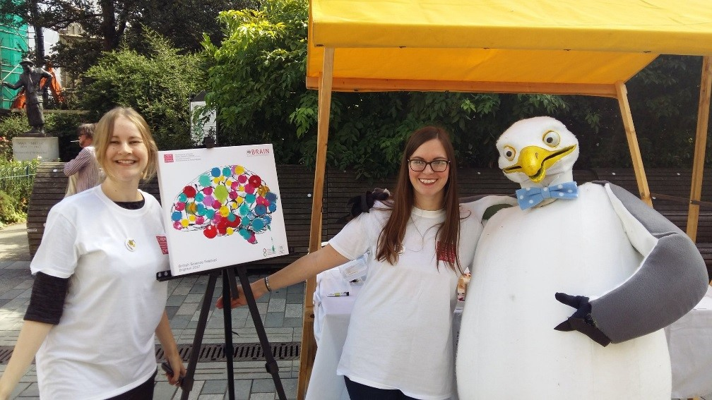 Dr Emma Yhnell and Rachel Smith at the British Science Festival promoting the neuroscience research of Cardiff University along with the 'science seagull'.