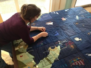 Cardigan Seaquilt showing shipping lanes with community artist Lisa Hellier