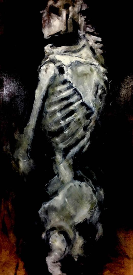 Oil-painted human skeleton in medium close-up.