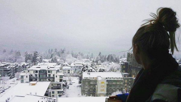 The snowy view from our flat balcony