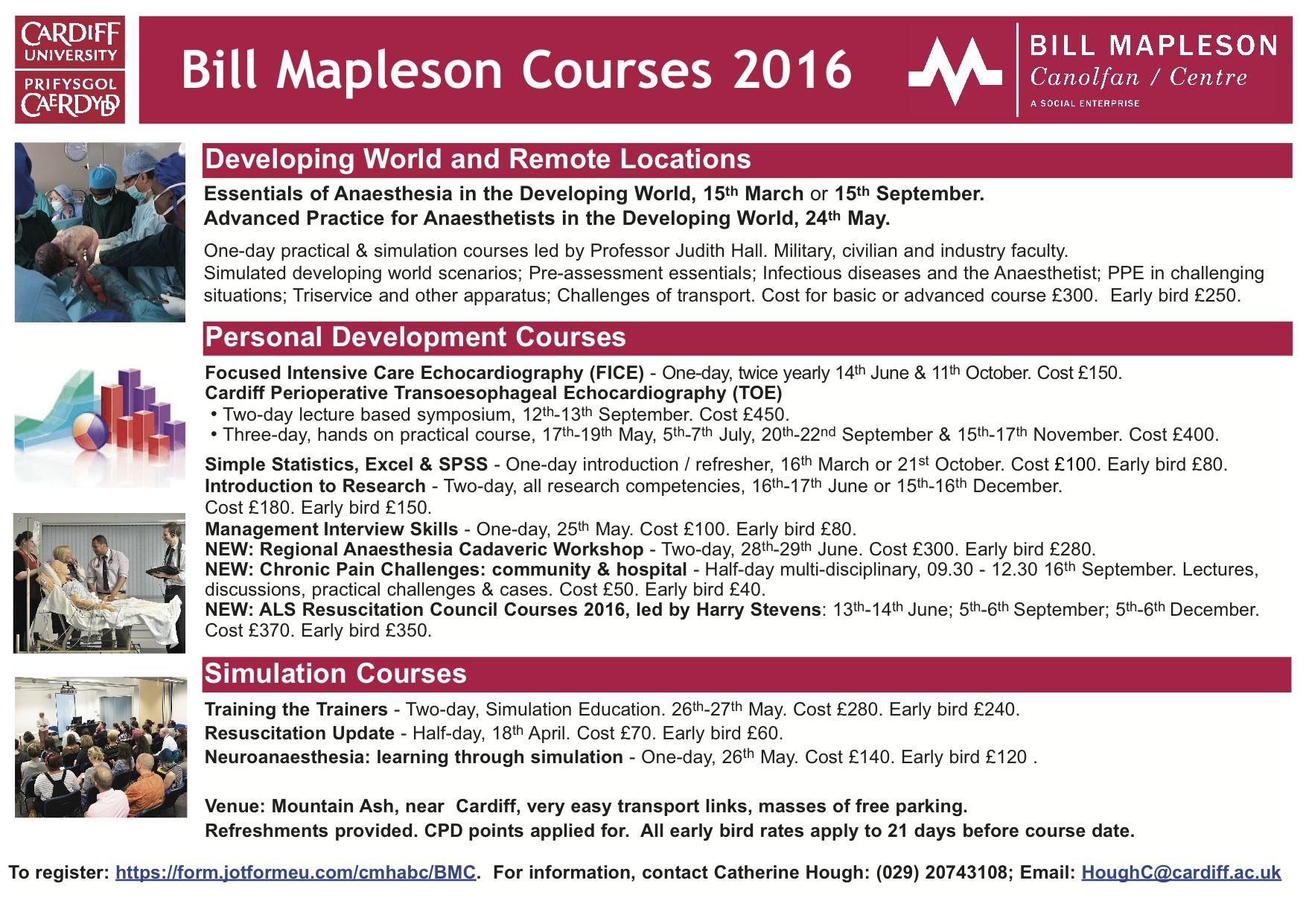 Bill Mapleson Courses 2016