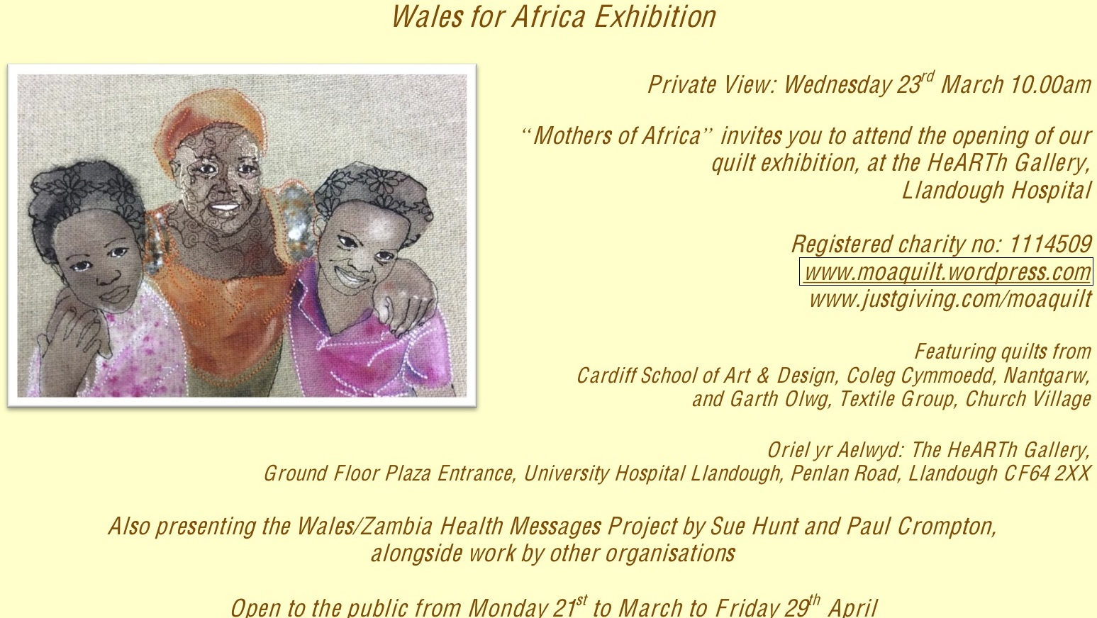 Mothers of Africa Sponsored Quilt Project Exhibition
