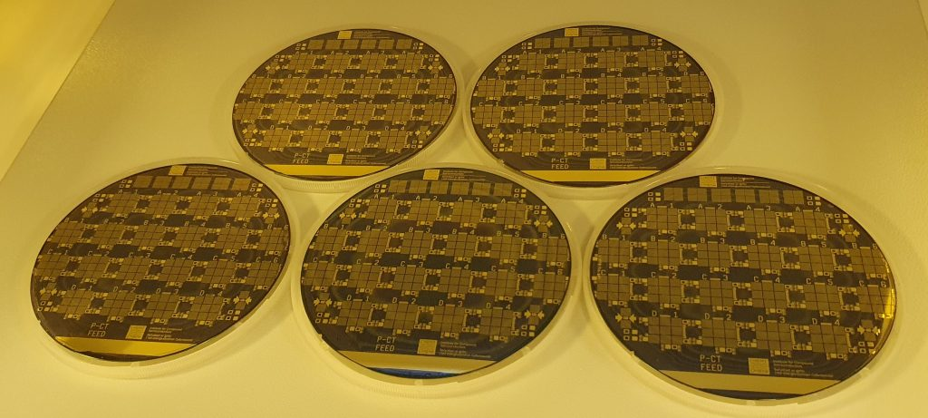 Five identically processed VCSEL wafers. Epi wafers provided by IQE