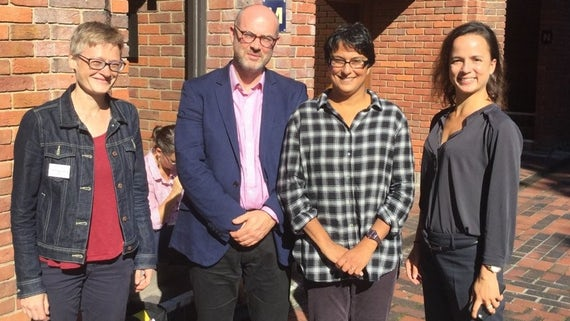 Professor Manji (centre right) and Professor Harrington (centre left) pictured with Dr Branwen Gruffydd Jones (far left) and Dr Sara Dezlay (far right). All four are members of the Centre for Law and Global Justice