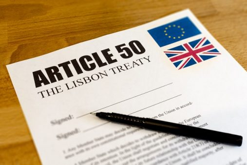 The Leave vote won the EU Referendum - now for the UK to leave the EU (Brexit) it has to sign Article 50 of The Lisbon Treaty - mocked up here with a pen