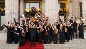 Tour members with conductor Mark Eager in Baden-Baden