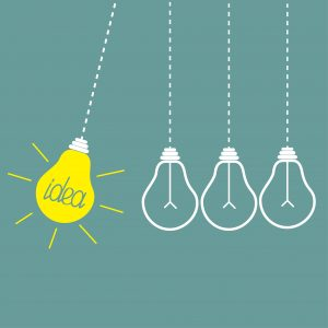 Four hanging yellow light bulbs. Perpetual motion.  Idea concept. Vector illustration.
