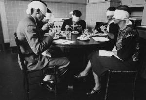 Blindfolded focus group in mock kitchen taste testing meats at the Department of Agriculture Beltsville, Maryland, Maryland, 1935. From the New York Public Library. (Photo by Smith Collection/Gado/Getty Images).
