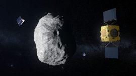 Image of HERA satellite near asteroid Didymoon