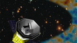 3D model of LiteBIRD satellite in front of an image of stars, galaxies and the CMB