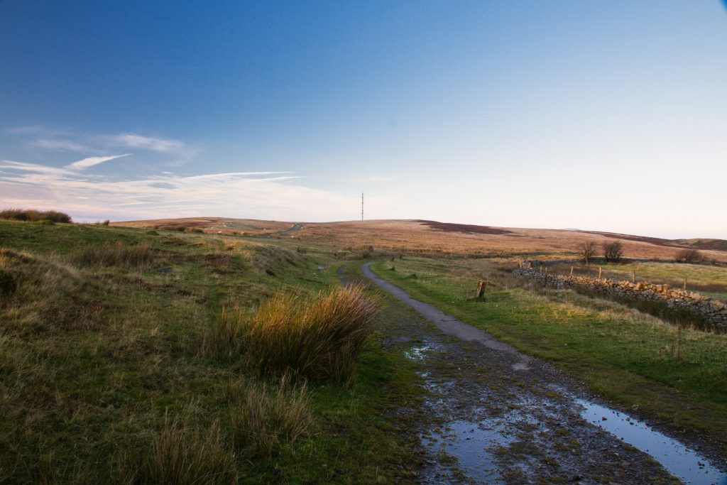 On Blorenge Hill, last light of day, and radio mast. Abergavenny, Wales, United Kingdom.