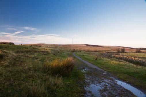 On Blorenge Hill, last light of day, and radio mast. Abergavenny, Wales, United Kingdom.