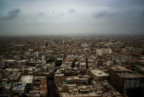 An image of Karachi's most populated area.