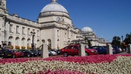Flowerbed with Cardiff City Hall in the background