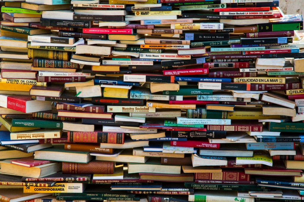 Cartagena, Colombia - February 23, 2014 - Stacks of books are part of an art instalation in Catagena's colorful Getsemani neighborhood.
