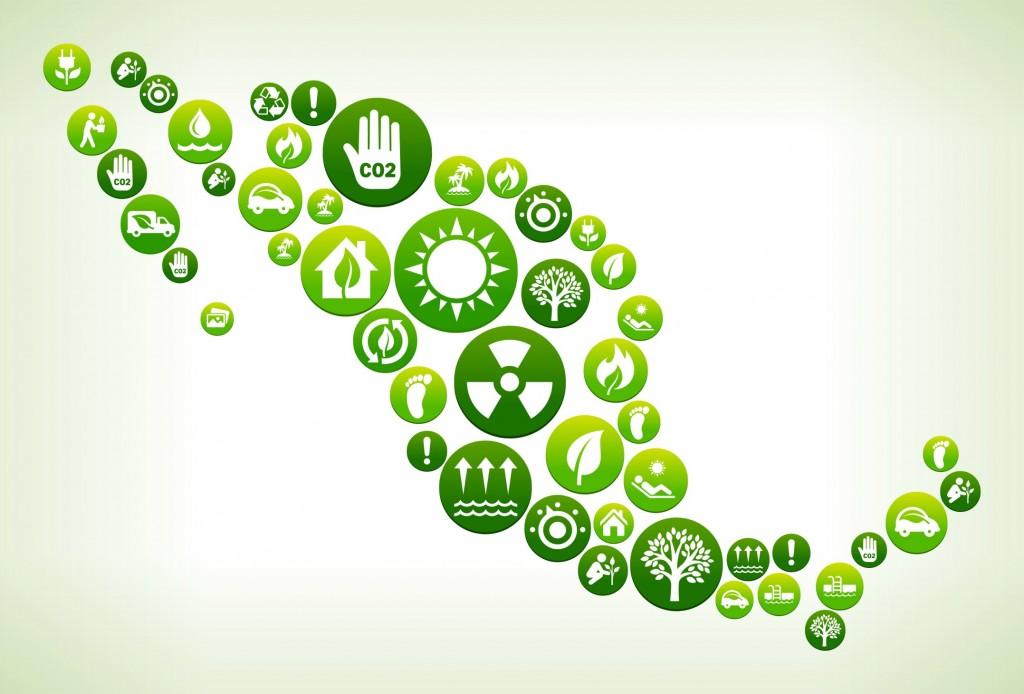 Mexico Environmental Conservation Green Vector Button Pattern.